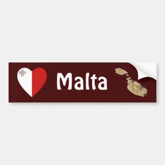 Malta flaggahjärta + Kartabildekal Bildekal