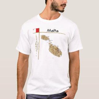 Malta karta + Flagga + TitelT-tröja Tshirts