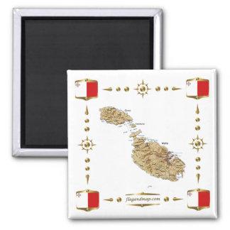 Malta karta + Flaggormagnet Magnet