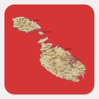 Malta kartaklistermärke fyrkantigt klistermärke