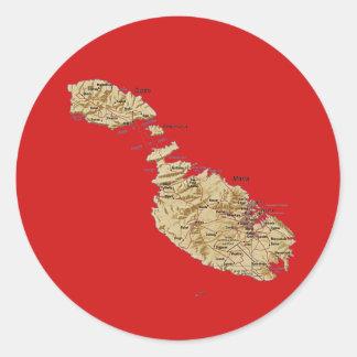 Malta kartaklistermärke runt klistermärke