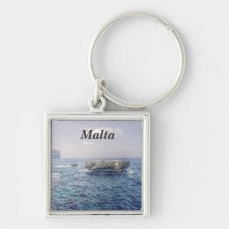 Malta kusten fyrkantig silverfärgad nyckelring