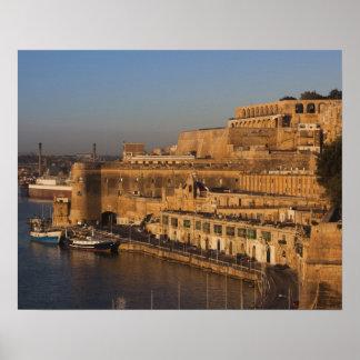 Malta Valletta, hamn beskådar från lägre Barrakka Poster
