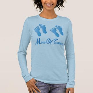 Mamma av kvinna för twillingarblåttfotspår t shirts