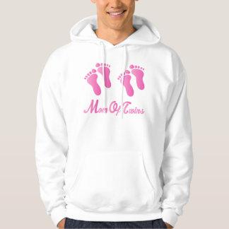Mamma av tröjan för rosa fotspår för twillingar hoodie