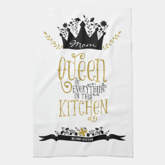Mamma - drottning av det guld- glitter för kök   kökshandduk