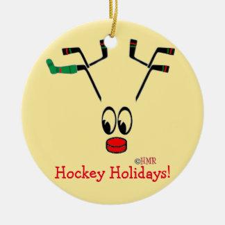 Mamma för hockey för ~ för prydnad för rund julgransprydnad i keramik