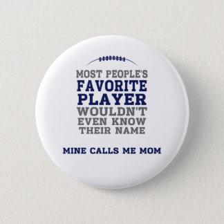 Mamma knäppas favorit- fotbollsspelareblått & standard knapp rund 5.7 cm