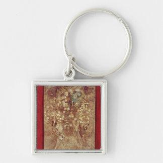Mamma med den guld- kronan och allvarliga godor fyrkantig silverfärgad nyckelring