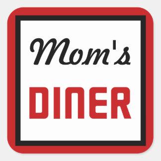 Mamma middag fyrkantigt klistermärke
