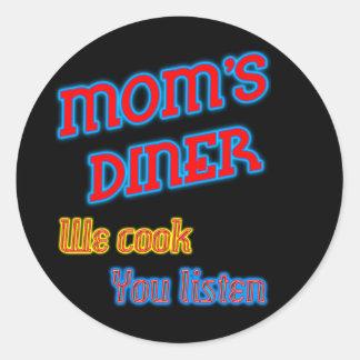 Mamma middag lagar mat vi dig lyssnar roligt neon runt klistermärke