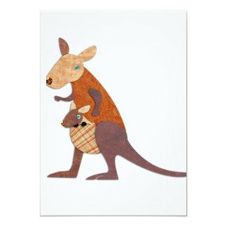 Mamma- och babykänguru 12,7 x 17,8 cm inbjudningskort