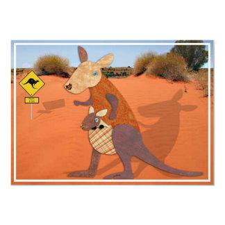 Mamma- och babykänguru i outbacken 12,7 x 17,8 cm inbjudningskort