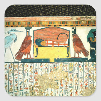 Mamma på en begravnings- säng med olika gudomar fyrkantigt klistermärke
