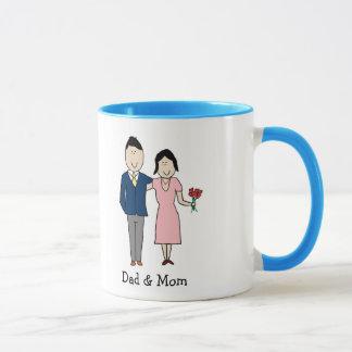 Mamma & pappa - beställnings- tecknadmugg mugg