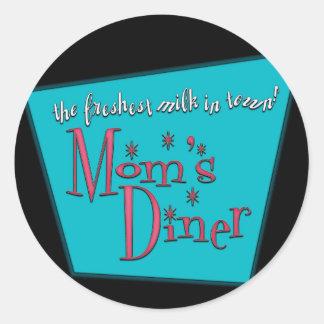 Mamma Retro Pro-Breastfeeding design för middag Runt Klistermärke