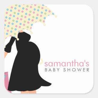 Mamma under paraplybaby shower fyrkantigt klistermärke