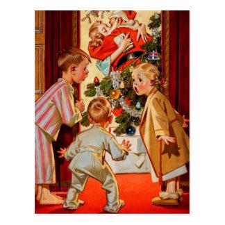 Mamman kysser jultomten vykort
