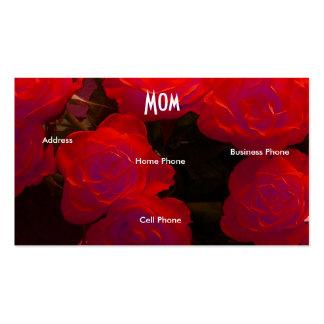 Mammaröd ros set av standard visitkort
