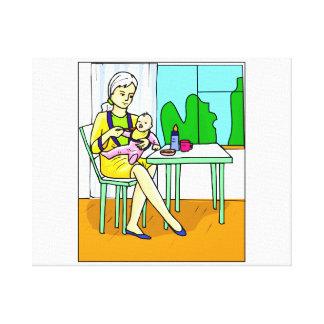 Mammasitta på bord som matar bebiset graphic.png canvastryck