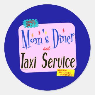 Mammor middag och tjänste- roligt ordstäv för taxi runt klistermärke