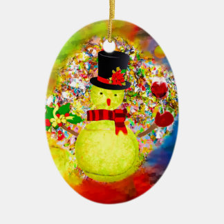 Man för snötennisboll i ett moln av konfettiar julgransprydnad keramik