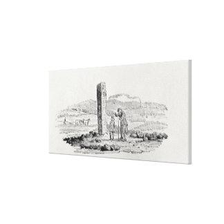 Man och en pojke vid en monument canvastryck