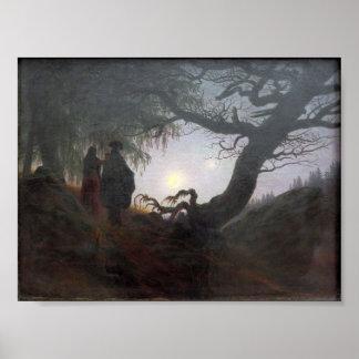 Man och kvinna som beskådar månen poster