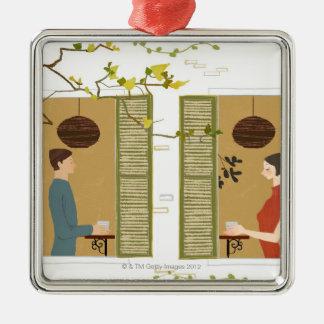 Man och kvinna som dricker kaffe julgransprydnad metall