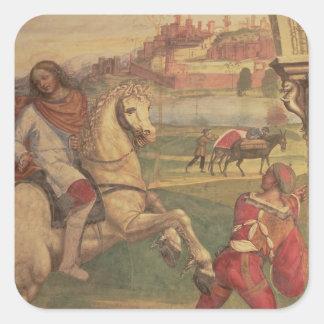 Man på hästrygg, från livet av St. Benedict (f Fyrkantigt Klistermärke