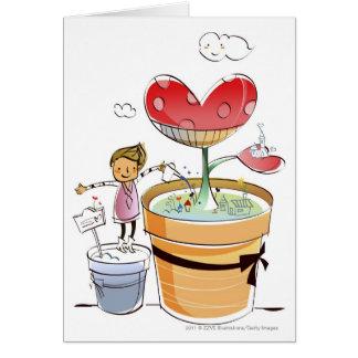 Man som bevattnar en inlagd växt hälsningskort