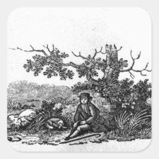 Man som placeras av ett hämmat träd fyrkantigt klistermärke