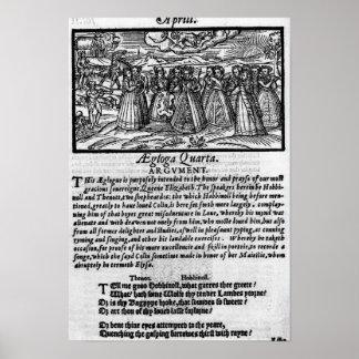 Månad av April, från 'den Shepheardes kalendern Posters