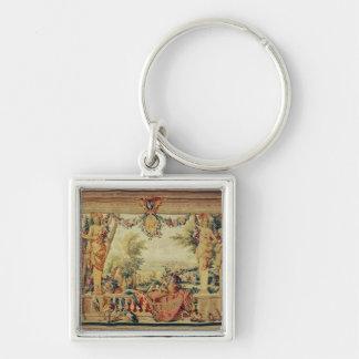 Månaden av den Juli chateauen av Vincennes Fyrkantig Silverfärgad Nyckelring