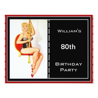Manar 80th röd svart utvikningsbild för 10,8 x 14 cm inbjudningskort