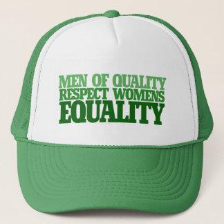 Manar av kvalitets- respektkvinna jämställdhet truckerkeps