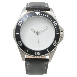 Manar fäster rostfria svart läder klockan armbandsur