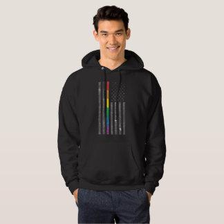 Manar för amerikanprideflagga grundläggande mörka sweatshirt