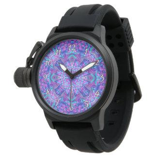Manar för lila- och blåttKaleidoscopevintage Armbandsur