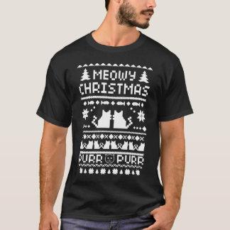 Manar för mörk T-tröja för katt Meowy jul ful Tshirts