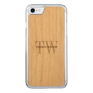 Manar modernt Minimalist verkligt trä för Monogram Carved iPhone 7 Skal