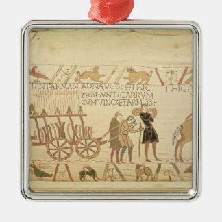 Manar som drar en vagn, laddade med vin och ärmar silverfärgad fyrkantigt julgransprydnad