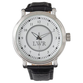 Manar svartvit Monogramklocka Armbandsur