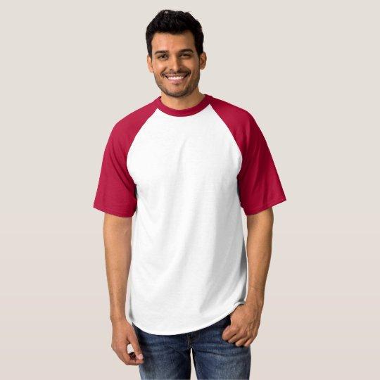 Herr Raglan Baseball T-Shirt, Vit/röd