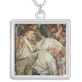 Manar, vänster panel från åldern av arbetaren silverpläterat halsband