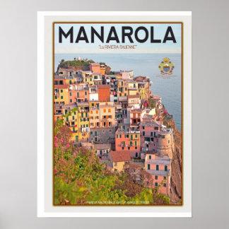 Manarola vingårdsolnedgång (vit) poster