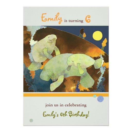 Manateefamilj: Barns födelsedagpartyinbjudan Inbjudan