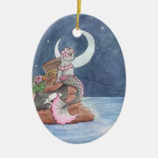 Månbelyst förråd julgransprydnad keramik