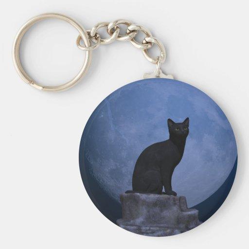 Månbelyst katt nyckelring