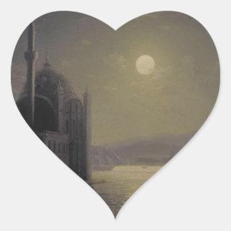 Månbelyst natt på Bosphorusen av Ivan Aivazovsky Hjärtformat Klistermärke